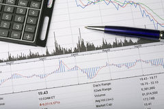 Stock price chart analysis Royalty Free Stock Photography