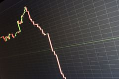 Stock price chart falling deeply and quickly stock photography