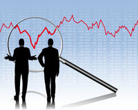 Stock Quotes. Two business people are checking the Stock Quotes royalty free illustration