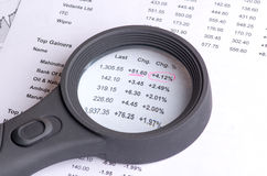 Stock quotes and charts on paper Royalty Free Stock Photo