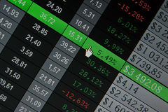 Stock Quotes at real time at the stock exchange. Financial data- stock exchange online computer screen Stock Photos