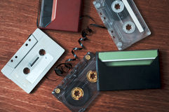 Stock of Retro cassette tapes. Royalty Free Stock Image