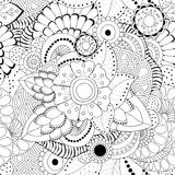 Stock  seamless abstract monochrome doodle flower and wave Stock Photo