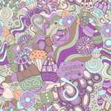 Stock  seamless cartoon doodle easter pattern. card, broch Stock Image