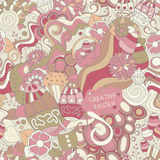 Stock  seamless cartoon doodle easter pattern. card, broch Royalty Free Stock Images