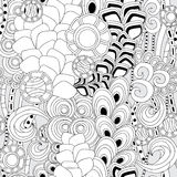 Stock  seamless doodle pattern. black and white Royalty Free Stock Photography