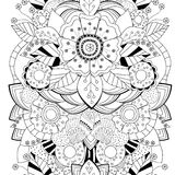 Stock  seamless floral black and white doodle pattern. bor Stock Photography