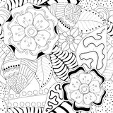 Stock  seamless floral black and white doodle pattern. Stock Photos