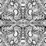 Stock  seamless floral  doodle kaleidoscope pattern. Royalty Free Stock Image