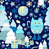 Stock  seamless winter background with cartoon cat and, tr Stock Photography