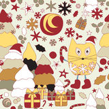 Stock  seamless winter background with cartoon cat Stock Photo