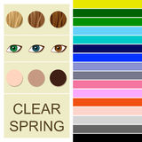 Stock seasonal color analysis palette for clear spring type. Type of female appearance vector illustration