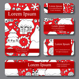 Stock  set of business card. decorative ornament. christma Royalty Free Stock Photo