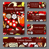 Stock  set of business card. decorative ornament. doodle de Stock Photo