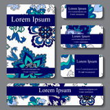 Stock  set of business card. decorative ornament. template Royalty Free Stock Image