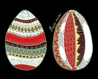 Stock  set of cartoon hand draw easter eggs  with leaf and Stock Photos