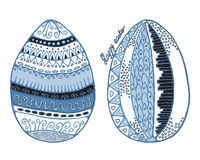 Stock  set of cartoon hand draw easter eggs  with leaf and Royalty Free Stock Images