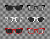 Stock set of sunglasses translucent for photomontage Royalty Free Stock Photography