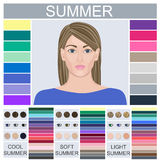 Stock set of three summer types of female appearance. Face of young woman. Seasonal color analysis palette for soft, cool and light summer vector illustration