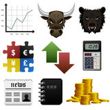Stock Share Market Finance Money Icon. Stock market icons with a chart, bull, bear, foreign exchange, arrows, calculator, news, report, and gold coin Royalty Free Stock Photography