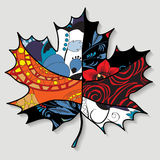 Stock single  maple leaf.patchwork design. autumn patter Stock Image