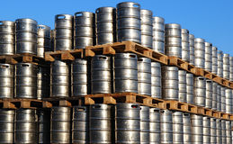 Stock of steel kegs of beer in factory yard Royalty Free Stock Photography