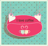 Stock suspended for hearts card. Oval shaped coffe Royalty Free Stock Images
