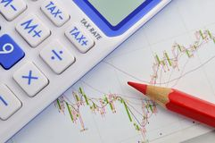 Stock and tax calculation Stock Photos
