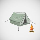 Stock tent and a bonfire on light background Royalty Free Stock Photography