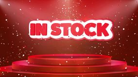 In Stock Text Animation Stage Podium Confetti Loop Animation. In Stock Text Animation on 3d Stage Podium Carpet. Reval Red Curtain With Abstract Foil Confetti vector illustration