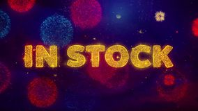 In stock text on colorful ftirework explosion particles. vector illustration