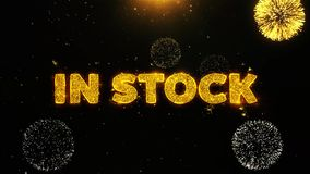 In Stock Text on Firework Display Explosion Particles. stock illustration