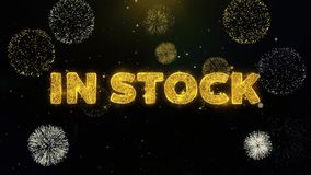 In Stock Text on Gold Particles Fireworks Display. stock illustration