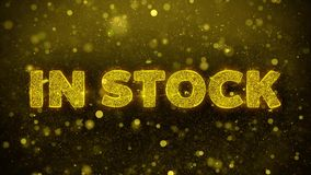 In Stock Text on Golden Glitter Shine Particles Animation. royalty free illustration