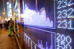 Stock ticker board at the stock exchange Royalty Free Stock Image