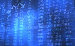 Stock and Ticker Data on Blue Bars Royalty Free Stock Image