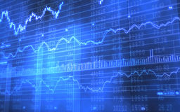 Stock and Ticker Data on Blue Bars Stock Photo