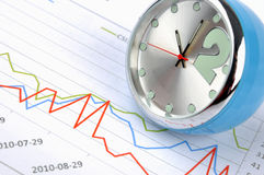 Stock and time. A clock and stock chart, shown as stock trend and time, or stock market benefit have related with time stock photos
