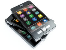 Stock of touchscreen phones Royalty Free Stock Photo