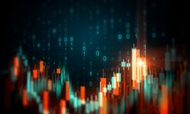 Stock and trade concept. Creative glowing blurry forex chart background with binary code. Stock and trade concept. 3D Rendering vector illustration