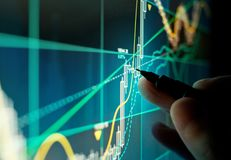 A Stock Trader Checking Chart Fundamentals. A stock trader checking technical markers of a stock on a computer screen Stock Images