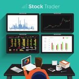 Stock trader exchange. Flat design concept stock exchang and trader. Financial market business with graph chart analysis. Vector illustrations vector illustration