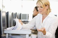 Stock Trader Going Through Paperwork Stock Images