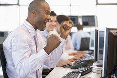 Stock Trader Happy With His Success Stock Images