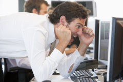 Stock Trader Overjoyed Looking At Monitor Stock Image