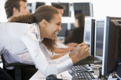 Stock Trader Overjoyed Looking At Monitor Royalty Free Stock Photography
