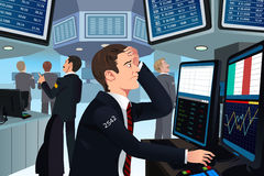 Stock trader in stress. A vector illustration of stock trader in stress looking at the computer Royalty Free Stock Image