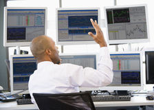 Stock Trader Talking Animatedly On The Phone Stock Photography