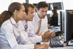 Stock Trader Team At Work. During day stock photo