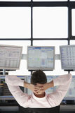 Stock Trader Watching Multiple Monitors Stock Photography